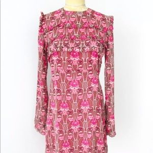 TOPSHOP Pink Floral Ruffle Dress size 4